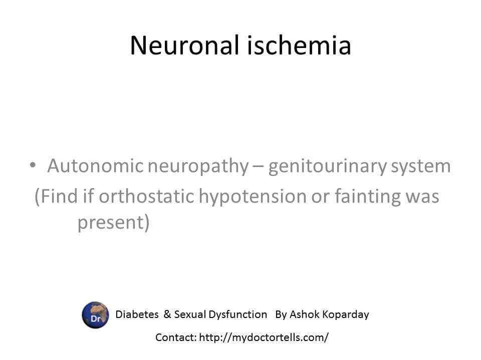 Neuronal ischemia Autonomic neuropathy – genitourinary system  (In clinical history find if orthostatic hypotension or fainting was  present)