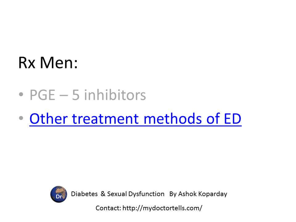 Rx men with diabetes with sexual dysfunctions PGE – 5 inhibitors Other treatment methods of ED